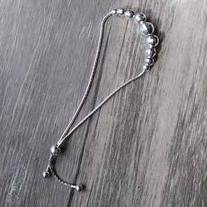 Faceted Sterling Silver adjustable bracelet